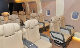 Interior de una clase de negocios del aeroplano Fotos de archivo