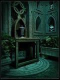 Interior de una cripta de la fantasía Foto de archivo