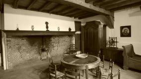 Interior de una granja vieja imagen de archivo libre de regalías