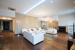 Interior de una sala de estar espaciosa moderna con la chimenea Fotos de archivo libres de regalías