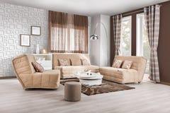 Interior de una sala de estar moderna en color imagenes de archivo