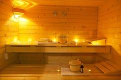 Interior de una sauna finlandesa Imagen de archivo