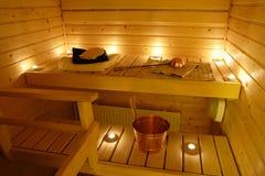 Interior de una sauna finlandesa Fotografía de archivo