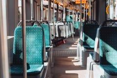 Interior de una tranvía de Lviv imágenes de archivo libres de regalías