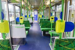 Interior de una tranvía vacía en Melbourne Fotografía de archivo