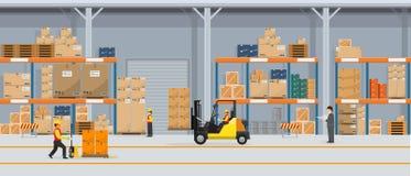 Interior de Warehouse con las cajas en el trabajo del estante y de la gente El vector plano y el color sólido diseñan servicio de