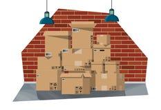 Interior de Warehouse con las mercancías y el envase stock de ilustración