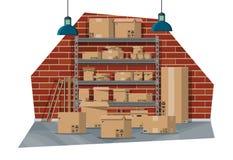 Interior de Warehouse con las mercancías y el envase libre illustration