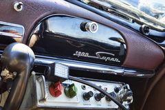 Interior deatil of vintage car model Alfa 1900 Super produced by. Rome,Italy - September 30, 2018:50th anniversary of the foundation of the National Association royalty free stock images