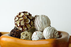Interior decor balls. A selection of aromatic interior decoration balls Royalty Free Stock Images