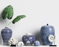 Interior decor mockup with chinese ginger jars and corals. Digital illustration.3d rendering Royalty Free Stock Photos