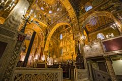 Interior, decorated with beautiful mosaics Bizzantini, Palatina. Interior decorated with splendid Bizzantini mosaics in the Palatine Chapel at the Palazzo dei royalty free stock photography