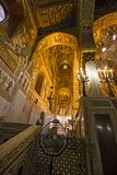 Interior, decorated with beautiful mosaics Bizzantini, Palatina. Interior decorated with splendid Bizzantini mosaics in the Palatine Chapel at the Palazzo dei royalty free stock images