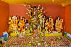 Interior of decorated Durga Puja pandal, at Kolkata, West Bengal, India. Royalty Free Stock Photo