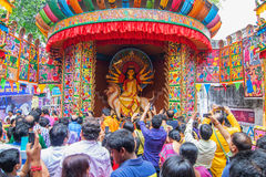 Interior of decorated Durga Puja pandal, at Kolkata, West Bengal, India. Royalty Free Stock Photography