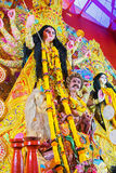 Interior of decorated Durga Puja pandal, at Kolkata, West Bengal, India. Royalty Free Stock Photography
