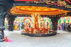 Interior of decorated Durga Puja pandal, at Kolkata, West Bengal, India. Stock Photography