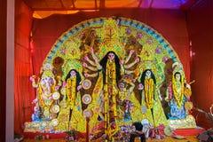 Interior of decorated Durga Puja pandal, at Kolkata, West Bengal, India. Royalty Free Stock Images
