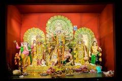 Interior of decorated Durga Puja pandal, at Kolkata, West Bengal, India. Stock Photos