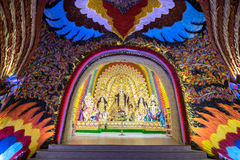Interior of decorated Durga Puja pandal, at Kolkata, West Bengal, India. Stock Images