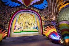 Interior of decorated Durga Puja pandal, at Kolkata, West Bengal, India. Stock Image