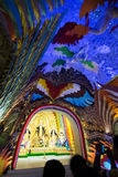 Interior of decorated Durga Puja pandal, at Kolkata, West Bengal, India. Stock Photography