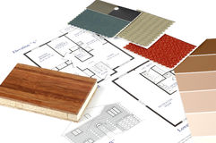 Interior Decorating. Floor plan and various decorating samples Stock Images