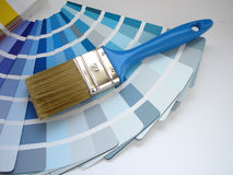 Interior decorating. Brush and color samples Stock Photography