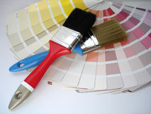Interior decorating. Brush and color Royalty Free Stock Photography