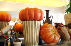 Interior Decorating pumpkins Royalty Free Stock Image