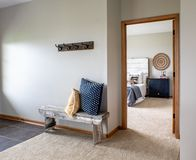 Interior decorating, view of cozy master bedroom from home foyer. View into cozy master bedroom from the living room area/entry , stock image of home staging and royalty free stock photo