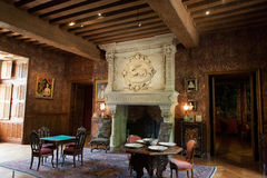 Interior decoration in castle of Azay-le-Rideau Stock Photos