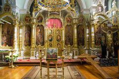 Interior decoration of the Christian church. Interior, painting, icons of saints, crucifixion of Jesus Christ and other interior decoration of the Russian Royalty Free Stock Image