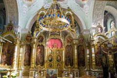 Interior decoration of the Christian church. Interior, painting, icons of saints, crucifixion of Jesus Christ and other interior decoration of the Russian Stock Photography