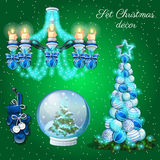 Interior decoration in Christmas time, 7 items Royalty Free Stock Images