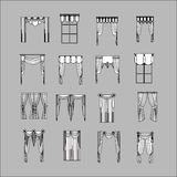 Interior decoration. curtains. curtains Interior design sketch. Royalty Free Stock Images