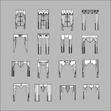 Interior decoration. curtains. curtains Interior design sketch. Stock Photo