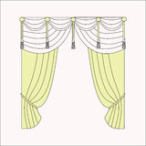 Interior decoration. curtains. curtains Interior design sketch. Stock Photos