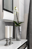 Interior decoration detail of white candles Royalty Free Stock Photos