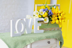 Interior decoration elements with flowers bouquet Stock Image