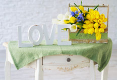 Interior decoration elements with flowers bouquet Stock Photography