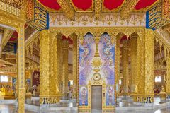 Interior decoration inside Phra Maha Chedi Chai Mongkol in Roi Et province, northeastern Thailand Royalty Free Stock Photos