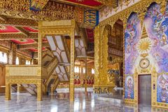 Interior decoration inside Phra Maha Chedi Chai Mongkol in Roi Et province, northeastern Thailand Royalty Free Stock Photo