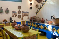 Interior decoration of the kitchen inside Frida Kahlo Museum or Casa Azul in Coyoac�n neighbourhood, Mexico City