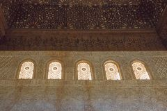 Interior decoration Nasrid Palaces, Alhambra, Granada. Andalusia, Spain royalty free stock images