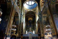 The interior decoration of St. Vladimir`s Cathedral in Kiev. royalty free stock photos