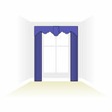 Interior decoration textiles sketch. box decorated curtains. int Stock Photography