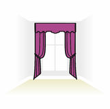 Interior decoration textiles sketch. box decorated curtains. int Stock Images