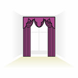 Interior decoration textiles sketch. box decorated curtains. int Stock Photo