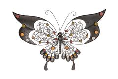 Interior decorations. Butterfly made from brown metal isolated on a white background.